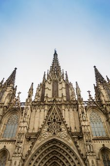 Free Facade Of Catedral Basilica Of Barcelona Royalty Free Stock Photo - 33037495