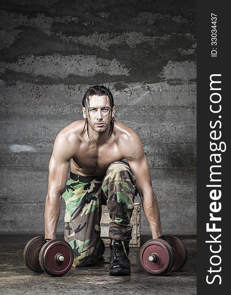 Portrait of muscle athlete