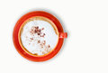 Free Cappuccino In Colorful Cup Royalty Free Stock Photography - 33044357