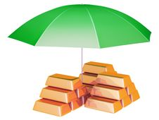 Free Umbrella Protects Gold Bars Stock Photography - 33040462