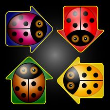 Free LadyBug Arrow Buttons Stock Photo - 33043630