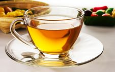 Free Tea In Cup And Dessert Backlight Effect Royalty Free Stock Image - 33044266