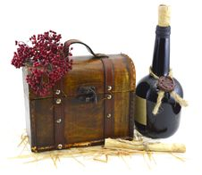 Free Bottle With Old Box And Manuscript Stock Photography - 33045372