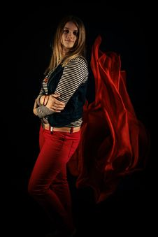 Free Beautiful Girl Against Red Fabric In The Dark Stock Images - 33046934