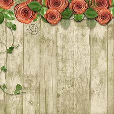 Old Wooden Background With Paper Roses And With Space For Text O Royalty Free Stock Images