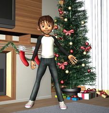 Free Happy Boy And Christmas Tree Stock Photos - 33053333