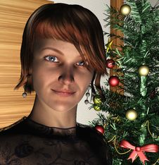 Free Lady  And Christmas Tree Royalty Free Stock Image - 33055516