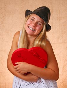 Free Young Girl With Red Heart Royalty Free Stock Photography - 33056677