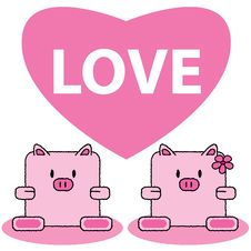 Pig In Love Royalty Free Stock Photo
