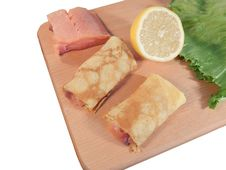 Free Pancakes With Red Fish Stock Photos - 33061203
