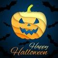 Free Happy Halloween Card. Paper Pumpkin On Dark Stock Images - 33075584