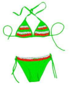 Free Green With Red Insert Fashionable Swimsuit Stock Photo - 33074600