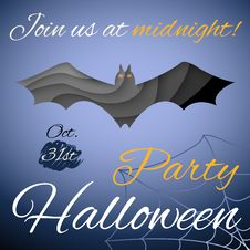Halloween Party Poster. Dark Paper Bat. Vector Royalty Free Stock Photo