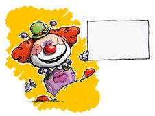 Clown Holding Business Card Royalty Free Stock Photo