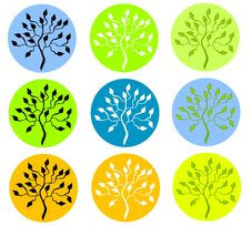 Free Colorful Tree In Circle Icons Stock Photography - 3312782