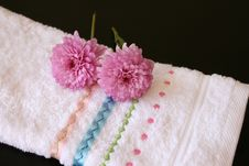 Hand Towel With Pink Stock Images