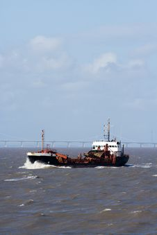 Dredger At Sea Royalty Free Stock Photo