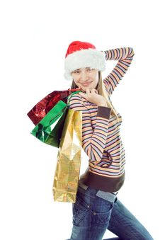 Free Christmas Woman With Gift Royalty Free Stock Image - 3318856