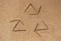 Free Recycle Symbol Written&x28;drawn&x29; In Beach Sand - Concept Photo Royalty Free Stock Photography - 33104877