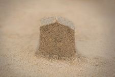 Free House&x28;home&x29; Structure Made In Beach Sand - Concept Photo. Stock Image - 33104881