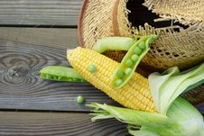 Free Green Peas, Corn, Wheat And Straw Hat. Stock Image - 33107371