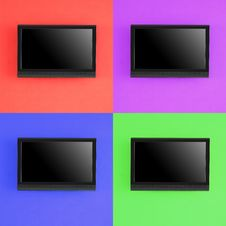 Free Set Of Modern LED Screen On Color Wall Stock Photo - 33107860
