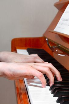 Free Pianist Hands Profile View Royalty Free Stock Photography - 33107907