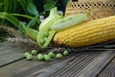 Free Green Peas, Corn, Wheat And Straw Hat. Stock Image - 33108031