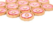 Free Lot Of Strawberry Biscuits. Royalty Free Stock Photography - 33109157