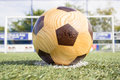 Free Wooden Football On Penalty Spot With Goal Stock Photos - 33114233