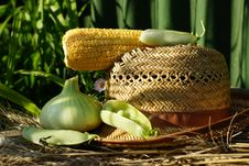 Free Ear Of Corn, Peas, Onion Straw Hat. Stock Image - 33110301