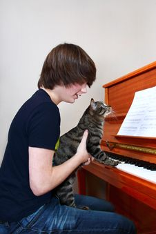 Free Boy And Cat Play Piano Stock Images - 33112484