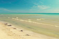 Summer View Calm Sea Water Stock Image