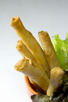 Deep Fried Shrimp Rolls On White Stock Photo