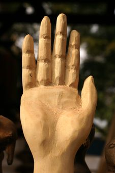 Free Carved Hand Up - STOP Royalty Free Stock Images - 33120519