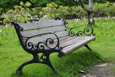 Free Stylish Bench In Summer Park . Royalty Free Stock Image - 33136786