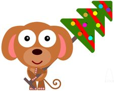 Dog S Christmas Tree Royalty Free Stock Photo