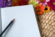 Free Pencil Put On Notebook Stock Image - 33148921