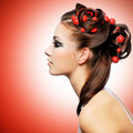 Free Beautiful Woman With Creative Hairstyle Stock Photography - 33153002