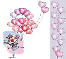 Free Clown With Heart Balloons Saying Happy Anniversary Royalty Free Stock Photography - 33154907