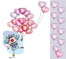 Free Clown With Heart Balloons Saying Happy Anniversary Stock Images - 33154924
