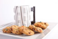 Free Cup Of Coffee With Cookies Royalty Free Stock Photo - 33154935