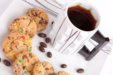 Cookies And Chocolate With Tea Stock Photography