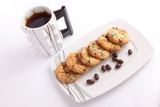 Cookies And Chocolate With Tea Stock Photos