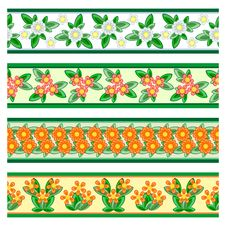 Seamless Floral Borders Royalty Free Stock Photography