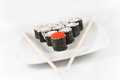 Free Sushi Menu And Chopsticks On Plate, White Background6 Royalty Free Stock Photo - 33186315