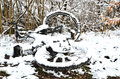 Free Abandoned Bicycle In The Winter Park Royalty Free Stock Photography - 33186937