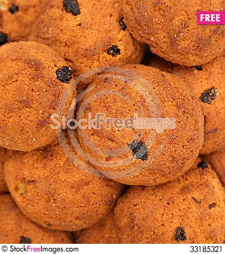 Free Background Of Oatmeal Cookies With Raisins Stock Image - 33185321