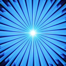 Blue Light Rays With Star. Stock Photo
