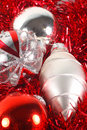 Free Christmas Balls On Red Tinsel Stock Image - 3329431